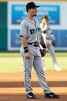 Dayton Dragons third baseman Jonathan India (7) in the field during a game against the Lansing Lugnuts at Cooley Law School Stadium on August 10, 2018 in Lansing, Michigan. Lansing defeated Dayton 11-4.  (Robert Gurganus/Four Seam Images)