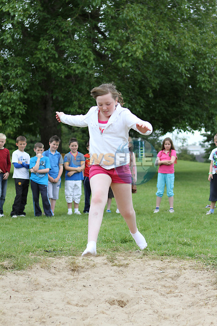 Kelly O'Dowd tries the Long Jump at the Greenhills Summer Camp...(Photo credit should read Jenny Matthews www.newsfile.ie)....This Picture has been sent you under the conditions enclosed by:.Newsfile Ltd..The Studio,.Millmount Abbey,.Drogheda,.Co Meath..Ireland..Tel: +353(0)41-9871240.Fax: +353(0)41-9871260.GSM: +353(0)86-2500958.email: pictures@newsfile.ie.www.newsfile.ie.