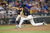 Coastal Carolina Chanticleers pitcher Andrew Beckwith (41) delivers a pitch to the plate against the Florida Gators in Game 4 of the NCAA College World Series on June 19, 2016 at TD Ameritrade Park in Omaha, Nebraska. Coastal Carolina defeated Florida 2-1. (Andrew Woolley/Four Seam Images)