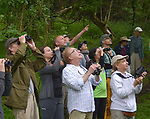 "Steve Chorvas (in brown cap and jacket) seen leading the Esopus Creek Conservancy and John Burroughs Natural History Society co-sponsored, ""Breeding Birds and Butterfles Walk- in the Esopus Bend Nature Preserve in Saugerties, NY, on Saturday, June 17, 2017. Photo by Jim Peppler. Copyright/Jim Peppler-2017."