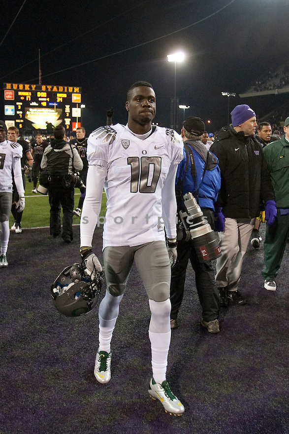 Nov  05, 2011:  Oregon's Rahsaan Vaughn against Washington .  Oregon defeated Washington 34-17 at Husky Stadium in Seattle, Washington...