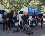 Absolute Drain employees, Ian Castonguay, Jacob Green, Bobby Reedholm, Beth Castonguay, owner Laura Castonguay, owner Mickey Castonguay, Tawney Kline and Mickey Castonguay II in Reno, Nevada on Thursday, August 10, 2017.