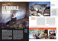 Faim Développement Magazine (FDM), French magazine of CCFD-Terre Solidaire NGO, on the human toll in Syria, January/February 2013.<br />