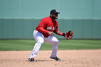 Boston Red Sox  third baseman Pablo Sandoval (48) during a Spring Training game against the New York Mets on March 16, 2015 at JetBlue Park at Fenway South in Fort Myers, Florida.  Boston defeated New York 4-3.  (Mike Janes/Four Seam Images)