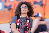 Houston, TX - Sunday Oct. 09, 2016: Fan prior to the National Women's Soccer League (NWSL) Championship match between the Washington Spirit and the Western New York Flash at BBVA Compass Stadium. The Western New York Flash win 3-2 on penalty kicks after playing to a 2-2 tie.