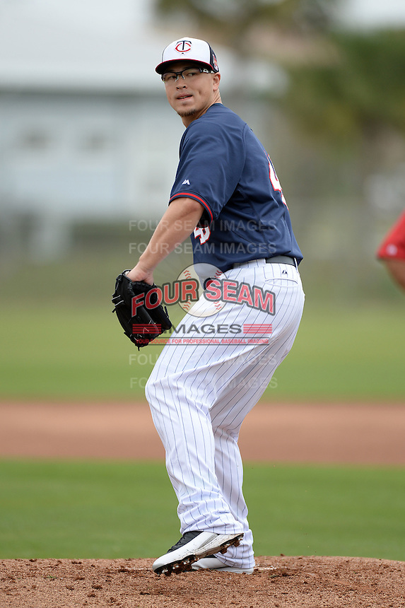 Minnesota Twins pitcher Vance Worley (49) during practice on February 25, 2014 at Hammond Stadium in Fort Myers, Florida.  (Mike Janes Photography)