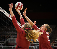 Stanford, CA - October 18, 2019: Meghan McClure, Madeleine Gates at Maples Pavilion. The No. 2 Stanford Cardinal swept the Colorado Buffaloes 3-0.