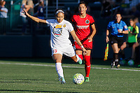 Rochester, NY - Friday June 17, 2016: Western New York Flash defender Jaelene Hinkle (15), Portland Thorns FC forward Nadia Nadim (9) during a regular season National Women's Soccer League (NWSL) match between the Western New York Flash and the Portland Thorns FC at Rochester Rhinos Stadium.