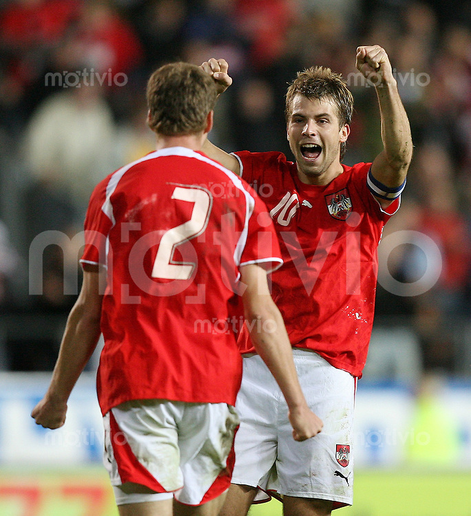 Fussball International  Oesterreich 2-1 Schweiz JUBEL AUT; Andreas Ivanschitz (re) und Johannes Ertl