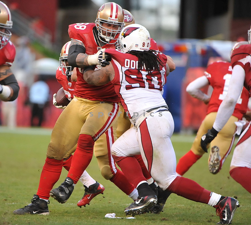 ADAM SNYDER, of the San Francisco 49ers, in action during the 49ers game against the Arizona Cardinals on November 20, 2011 at Candlestick Park in San Francisco, CA. San Francisco beat Arizona 23-7.