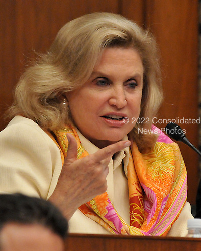 """Washington, D.C. - October 7, 2008 -- United States Representative Carolyn Maloney (Democrat of New York) questions a witness during the United States House  Committee on Oversight and Government Reform hearing on """"The Causes and Effects of the AIG Bailout"""" in the Rayburn House Office Building on Tuesday, October 7, 2008..Credit: Ron Sachs / CNP.(RESTRICTION: NO New York or New Jersey Newspapers or newspapers within a 75 mile radius of New York City)"""