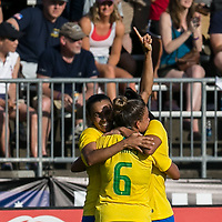 East Hartford, Connecticut - Sunday July 29, 2018:  2018 Tournament of Nations match between the women's national teams of Japan (JPN) and Brazil (BRA). Brazil (yellow/blue) defeated Japan (blue), 2-1, at Pratt & Whitney Stadium at Rentschler Field.<br />