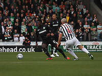 Victor Wanyama tracked by Jim Goodwin in the St Mirren v Celtic Clydesdale Bank Scottish Premier League match played at St Mirren Park, Paisley on 20.10.12.