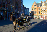 Carriage Ride In Market Square In Brugge, Belgium