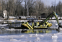 2004 File Photo Montreal (Quebec) CANADA<br /> breaking the ice on a river near Montreal<br /> Photo (c) P Roussel / Images Distribution