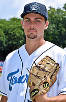 Asheville Tourists pitcher Karl Kauffmann (36) before a game against the Lakewood BlueClaws at McCormick Field on August 4, 2019 in Asheville, North Carolina. The Tourists defeated the BlueClaws 13-6. (Tony Farlow/Four Seam Images)