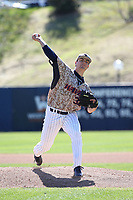 Jonathan Pendergast (33) of the Pepperdine Waves pitches against the Fresno State Bulldogs at Eddy D. Field Stadium on March 7, 2017 in Los Angeles, California. Pepperdine defeated Fresno State, 8-7. (Larry Goren/Four Seam Images)