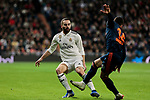 Real Madrid's Dani Carvajal and Valencia CF's Jose Gaya fight for the ball during La Liga match between Real Madrid and Valencia CF at Santiago Bernabeu Stadium in Madrid, Spain. December 01, 2018. (ALTERPHOTOS/A. Perez Meca)
