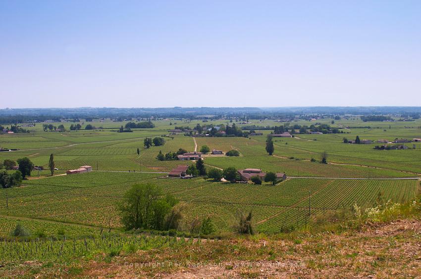 A view from the vineyard over the Saint Emilion plain, Chateau de Pressac St Etienne de Lisse Saint Emilion Bordeaux Gironde Aquitaine France
