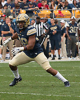Pitt linebacker Saleem Brightwell (39). The Pitt Panthers defeated the Youngstown State Penguins 28-21 in overtime at Heinz Field, Pittsburgh, Pennsylvania on September 02, 2017.