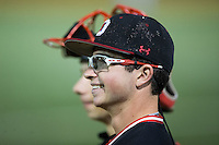 Jaret Lacagnina (12) of the Davidson Wildcats watches the action from the dugout during the game against the Wake Forest Demon Deacons at David F. Couch Ballpark on February 28, 2017 in Winston-Salem, North Carolina.  The Demon Deacons defeated the Wildcats 13-5.  (Brian Westerholt/Four Seam Images)