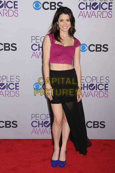 Ali Cobrin.People's Choice Awards 2013 - Arrivals held at Nokia Theatre L.A. Live, Los Angeles, California, USA..January 9th, 2013.full length pink cropped lace top belly stomach midriff black skirt sheer blue shoes .CAP/ADM/BP.©Byron Purvis/AdMedia/Capital Pictures.