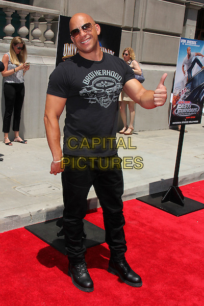 UNIVERSAL CITY, CA - JUNE 23: Vin Diesel at the premiere press event for the new Universal Studios Hollywood Ride 'Fast &amp; Furious-Supercharged' at Universal Studios Hollywood on June 23, 2015 in Universal City, California. <br /> CAP/MPI/DC/DE<br /> &copy;DE/DC/MPI/Capital Pictures