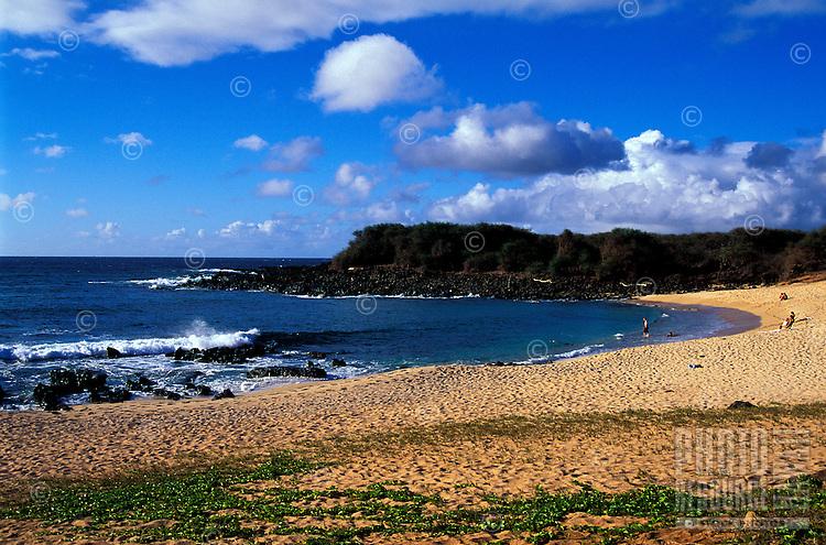 The beach of Kaupoa Beach Camp found on Molokai Ranch