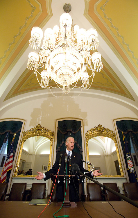 Senate Foreign Relations Chairman Joseph Biden, D-Del. holds a news conference in the U.S. Capitol to outline the committee's priorities and agenda for the new session on Thursday, Jan. 24, 2008.