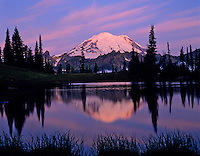 Mountain Rainier reflecting in subalpine tarn near Tipsoo Lake, Mount Rainier National Park, Washington.  Summer.