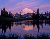 Mountain Rainier reflecting in subalpine tarn near Tipsoo Lake, Mount Rainier National Park, Washington.  Summer.