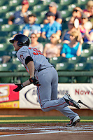 Fresno Grizzlies outfielder Roger Kieschnick #39 heads to first base during the Pacific Coast League baseball game against the Round Rock Express on May 19, 2012 at The Dell Diamond in Round Rock, Texas. The Grizzlies defeated the Express 10-4. (Andrew Woolley/Four Seam Images).