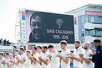 Picture by Allan McKenzie/SWpix.com - 20/04/2018 - Cricket - Specsavers County Championship - Yorkshire County Cricket Club v Nottinghamshire County Cricket Club - Emerald Headingley Stadium, Leeds, England - Yorkshire and Nottinghamshire players line up for a minute's applause for BBC Radio's David Callaghan who passed away earlier in the year.