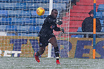 Johnny Placide of Oldham throwing the ball out. Oldham v Portsmouth League 1