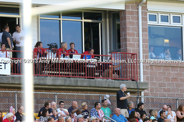 17 August 2013: U.S. head coach Mike Tolkin (center, above) watches the game with his technical staff. The United States Men's National Rugby Team played the Canada Men's Nationa Rugby Team at Blackbaud Stadium in Charleston, South Carolina in the first leg of their 2015 Rugby World Cup Qualifying Series. Canada won the game 27-9.