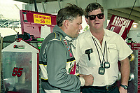Ted Musgrave, L, crew chief Buddy Parrott, Winston 500, Talladega Superspeedway, Talladega, Alabama, May 1992.(Photo by Brian Cleary/bcpix.com)