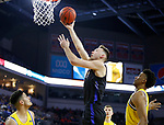 SIOUX FALLS, SD - MARCH 7: IPFW Mastodons forward Dylan Carl #11 goes up for a layup against South Dakota State Jackrabbits forward Alou Dillon #10 at the 2020 Summit League Basketball Championship in Sioux Falls, SD. (Photo by Richard Carlson/Inertia)