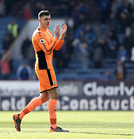 Burnley's Nick Pope applauds the fans at the final whistle<br /> <br /> Photographer Rich Linley/CameraSport<br /> <br /> The Premier League - Burnley v Leicester City - Saturday 14th April 2018 - Turf Moor - Burnley<br /> <br /> World Copyright &copy; 2018 CameraSport. All rights reserved. 43 Linden Ave. Countesthorpe. Leicester. England. LE8 5PG - Tel: +44 (0) 116 277 4147 - admin@camerasport.com - www.camerasport.com