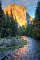 The face of El Capitan in the late sunlight refelcting on  flowing waters of the Merced River