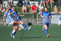 Allston, MA - Saturday August 19, 2017: Dani Weatherholt, Morgan Andrews during a regular season National Women's Soccer League (NWSL) match between the Boston Breakers and the Orlando Pride at Jordan Field.