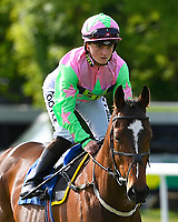 Sanches ridden by Hollie Doyle goes down to the start of The Smith & Williamson Handicap (Class 6)     during Afternoon Racing at Salisbury Racecourse on 17th May 2018