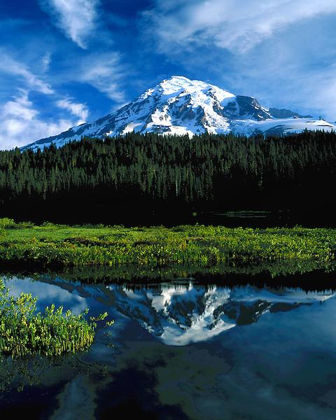 Paradise Lake and Mount Rainier (14411 feet), Mount Rainier National Park, Seattle, Washington, USA. .  John offers private photo tours throughout the western USA, especially Colorado. Year-round.