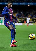 4th November 2017, Camp Nou, Barcelona, Spain; La Liga football, Barcelona versus Sevilla; Nelson Semedo of FC Barcelona crosses into the box