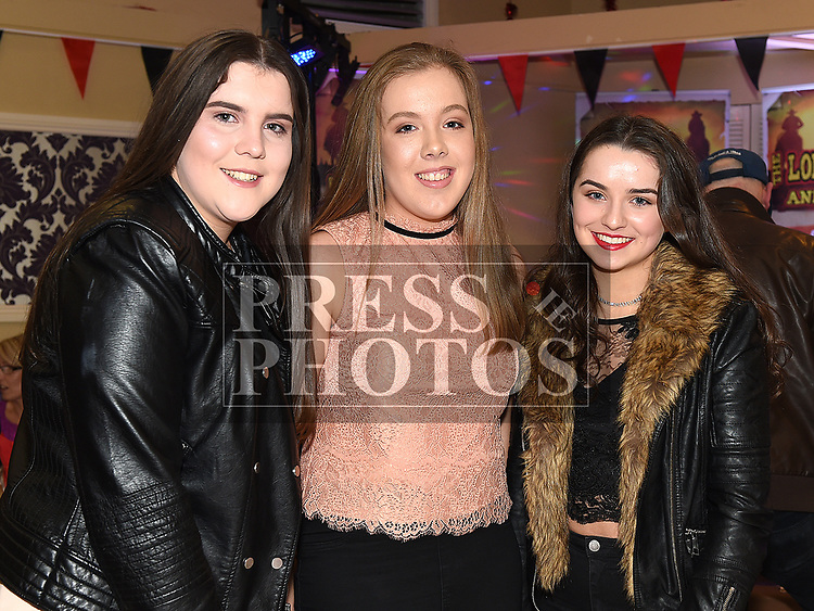 Donna Farrelly, Aoife Rogers and Caoimhe Mathews at St. Kevin's GFC annual Dinner in the Grove House Hotel Dunleer. Photo:Colin Bell/pressphotos.ie