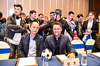 15th November 2019, Changsha City, China;   English former footballer Michael Owen, right, interacts with fans at a press conference, PK, Pressekonferenz of Legend Footballer Challenge in Changsha city, central China s Hunan province, 15 November 2019. *** Local Caption *** fachaoshi Ronaldinho and Michael Owen attends press conference of Legend Footballer Challenge