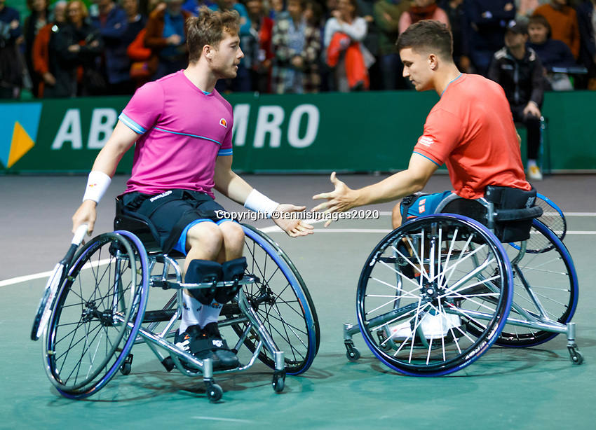 Rotterdam, The Netherlands, 14 Februari 2020, ABNAMRO World Tennis Tournament, Ahoy, <br /> Wheelchair Doubles: Gordon Reid (GBR) and Alfie Hewett (GBR).<br /> Photo: www.tennisimages.com