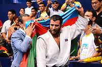 RIO DE JANEIRO, RJ,31 DE AGOSTO DE 2013 -CAMPEONATO MUNDIAL DE JUDÔ RIO 2013- Elkhan Mammadov do Azerbaijão (de branco) derrotou o holandês Henk Grol  e conquistou a medalha de ouro na categoria -100 kg no Mundial de Judô Rio 2013, no Maracanazinho de 26 de agosto a 01 de setembro, zona norte do Rio de Janeiro.FOTO:MARCELO FONSECA/BRAZIL PHOTO PRESS