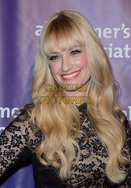 "Beth Behrs.21st Annual ""A Night At Sardi's"" Gala Benefiting The Alzheimer's Association Held At Beverly Hilton Hotel, Beverly Hills, California, USA, 20th March 2013..portrait headshot fringe red lipstick beauty make-up black lace smiling .CAP/ADM/KB.©Kevan Brooks/AdMedia/Capital Pictures."