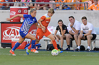 Houston, TX - Sunday Sept. 11, 2016: Kristie Mewis, Rebecca Moros during a regular season National Women's Soccer League (NWSL) match between the Houston Dash and the Boston Breakers at BBVA Compass Stadium.