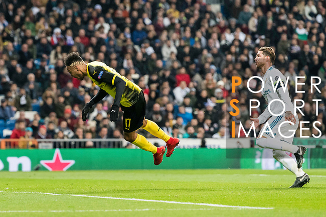 Borussia Dortmund Forward Pierre-Emerick Aubameyang (L) jumps for heading the ball during the Europe Champions League 2017-18 match between Real Madrid and Borussia Dortmund at Santiago Bernabeu Stadium on 06 December 2017 in Madrid Spain. Photo by Diego Gonzalez / Power Sport Images